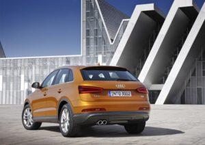 Heckansicht des Audi Q3 mit großen LED Rückleuchten