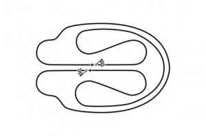 Streckenlayout im Münchener Olympiastadion zum Show Event der DTM
