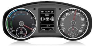 Kombiinstrument des Jetta Hybrid zeigt dem Fahrer alle relavanten Betriebszustände an
