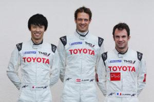 Fahrerbesetzung des ersten TS 030 Kazuki Nakajima- Alexander Wurz -Nicolas Lapierre  v.l.n.r.