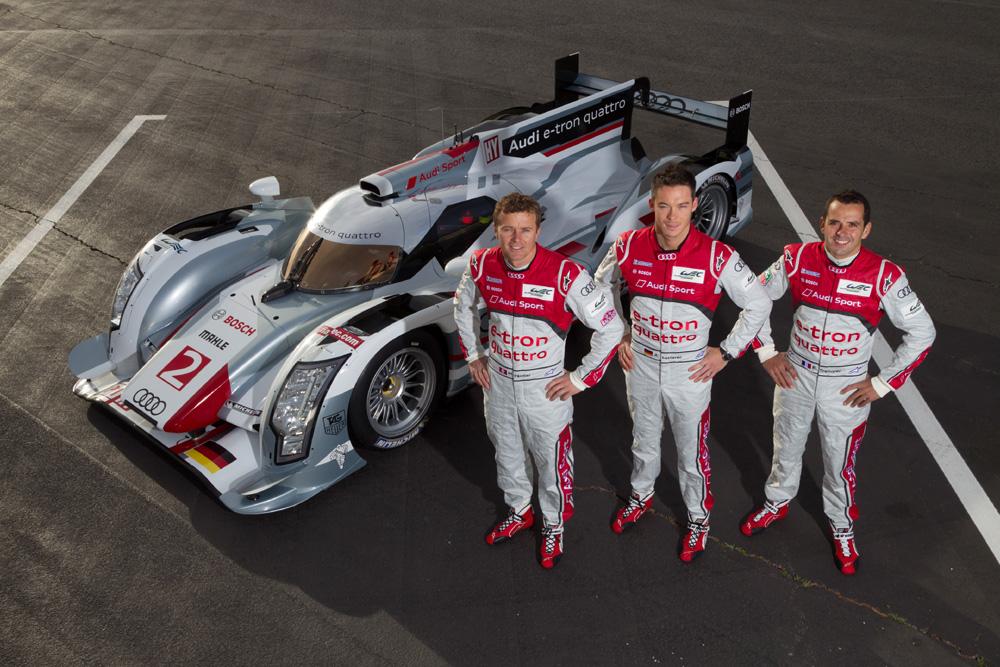Audi R18 e-tron quattro mit Marcel Fässler (CH), André Lotterer (D), Benoît Tréluyer (F)