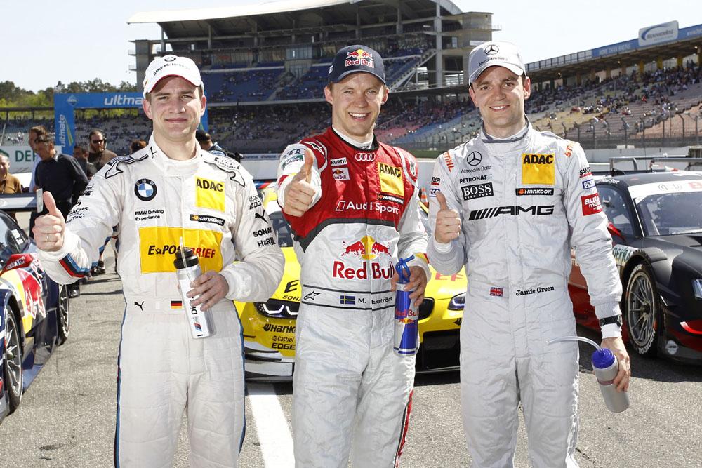 DTM 2012 Saisonauftakt Hockenheimring Top 3 Qualifying Dirk Werner, Mattias Ekström und Jamie Green v.l.n.r.