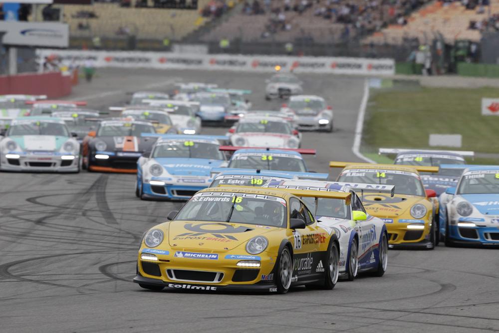 Sean Edwards gewinnt 2.Lauf im Porsche Carrera Cup auf dem Hockenheimring 2012