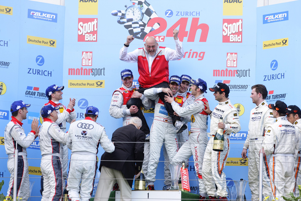 24h Rennen Nürburgring 2012 Werner Frowein und sein Gewinnerteam Marc Basseng/Christopher Haase/Frank Stippler/Markus Winkelhock
