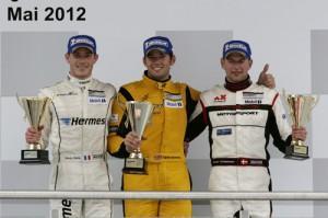 Porsche Carrera Cup Deutschland 2012 Podium 4. Lauf Lausitzring Kévin Estre (F), Sean Edwards (GB), Michael Christensen (DK)