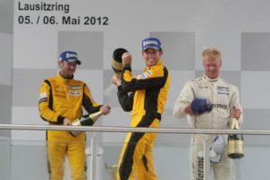 Porsche Carrera Cup Deutschland 2012 Lausitzring  René Rast (D), Nicki Thiim (DK), Sean Edwards (GB)