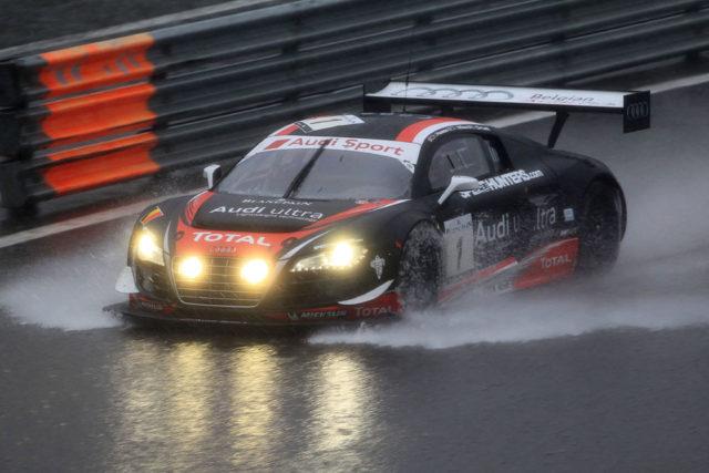 24 Stunden Spa 2012 Starke Regenfälle machte den Einsatz des Safety Cars erforderlich