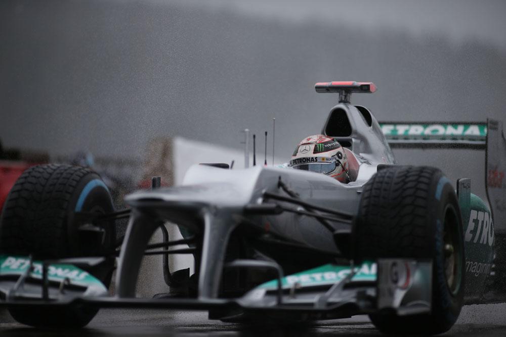 Formel 1 Spa 2012 Michael Schumacher im zweiten Freien Training welches dem Regen zum Opfer fiel