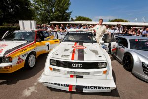 Rallye-Weltmeister Walter Röhrl und der Audi Sport quattro S1 Pikes Peak Foto: © Audi AG