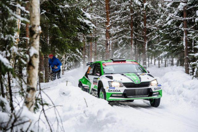 Skoda bei der Rallye Schweden 2018: Ole Christian Veiby und Beifahrer Stig Rune Skjærmoen (NOR/NOR) Foto: © Skoda Motorsport