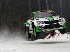 Pontus Tidemand/Jonas Andersson (SWE/SWE) wollen im ŠKODA FABIA R5 ihren Vorjahressieg in der Kategorie WRC 2 wiederholen. Foto: © Skoda Motorsport