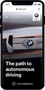 Relaunch bmw.com: Neues, redaktionelles Angebot, optimiert für mobile Endgeräte mit AMP und PWA Technologie Foto: © BMW AG