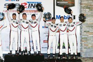 Porsche GT Team (911): Nick Tandy, Frederic Makowiecki, Patrick Pilet, Porsche GT Team (912): Laurens Vanthoor, Earl Bamber, Gianmaria Bruni (l-r) © Porsche Motorsport