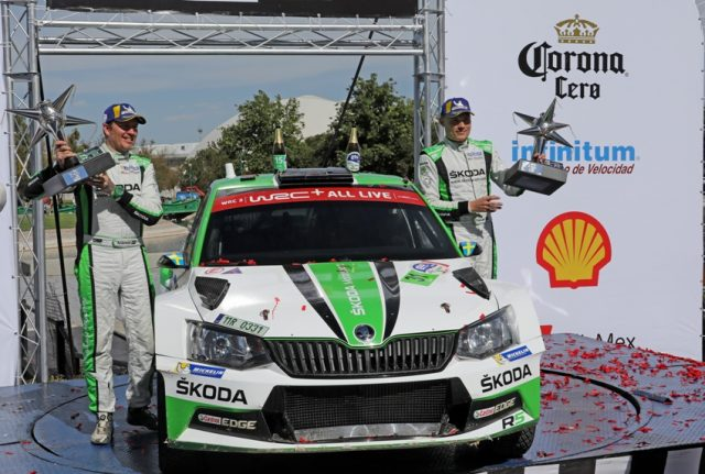 Skoda Fabia R5 Rallye Mexico 2018 Pontus Tidemand/Jonas Andersson (SWE/SWE) gewannen im ŠKODA FABIA R5 die WRC 2-Kategorie bei der Rallye Mexiko Foto: © Skoda Motorsport