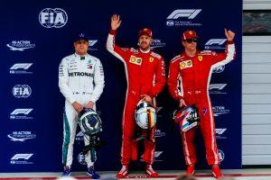 Formel 1 GP von China 2018 Valtteri Bottas Sebastian Vettel Kimi Raikkönen (v.l.n.r.) © Ferrari F1