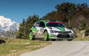 SKODA bei der Rallye Frankreich/Tour de Corse 2018: Nach dem ersten Tag der Rallye Frankreich/Tour de Corse 2018 liegen Ole Christian Veiby und Stig Rune Skjaermœn (NOR/NOR) auf Rang drei in der WRC 2- Kategorie © Skoda Motorsport