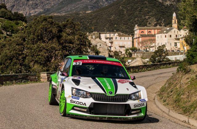 Skoda Fabia R5 bei der Rallye Frankreich/Tour de Corse 2018: Nach dem zweiten Tag der Rallye Frankreich/Tour de Corse 2018 liegen Ole Christian Veiby/Stig Rune Skjaermoen (NOR/NOR) auf Rang drei in der WRC 2-Zwischenwertung. © Skoda Motorsport