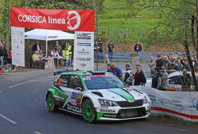 Skoda bei der Rallye Frankreich/Tour de Corse 2018: Beim vierten Lauf zur Rallye-Weltmeisterschaft fuhren Ole Christian Veiby/Stig Rune Skjaermoen (NOR/NOR) im SKODA FABIA R5 auf Rang vier in der WRC 2-Kategorie. © Skoda Motorsport