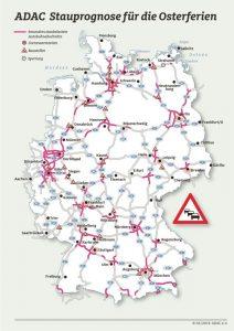 Autobahn Staukarte Ostern 2017 © ADAC
