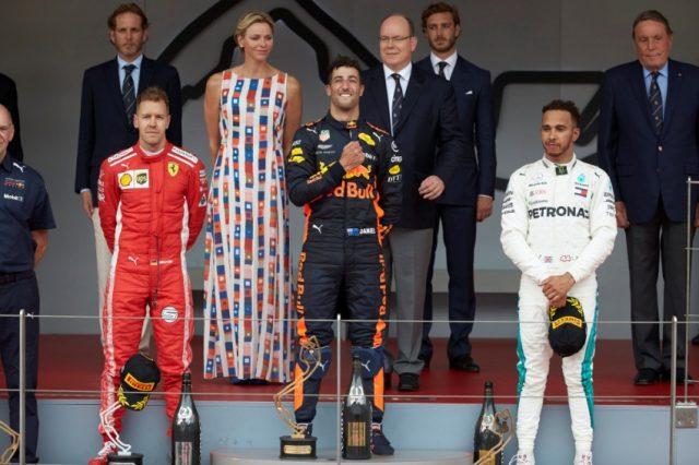 Formel 1 - Mercedes-AMG Petronas Motorsport, Großer Preis von Monaco 2018. Lewis Hamilton , Daniel Ricciardo, Sebastian Vettel (v.rn.l.) © Mercedes-AMG Petronas Motorsport