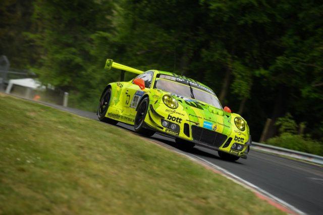 Manthey-Racing, Porsche 911 GT3 R (911), Kévin Estre (F), Romain Dumas (F), Laurens Vanthoor (B), Earl Bamber (NZ), Nürburgring 2018 © Porsche Motorsport