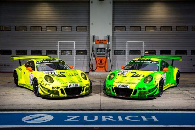 Manthey-Racing, Porsche 911 GT3 R (911), Porsche 911 GT3 R (912), Nürburgring 2018 © Porsche Motorsport