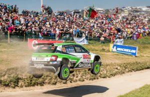 Skoda bei der Rallye Portugal 2018: Bei ihrer ersten Rallye Portugal wurden die finnischen Skoda Junioren Juuso Nordgren/Tapio Suominen durch Reifenschäden zurückgeworfen, fuhren aber trotzdem auf einen achtbaren sechsten Platz in der Kategorie WRC 2. © Skoda Motorsport