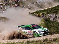 Skoda bei der Rallye Portugal 2018: Die amtierenden WRC 2-Champions Pontus Tidemand/Jonas Andersson (SWE/SWE) belegen am Freitagabend nach zwei Reifenschäden an ihrem SKODA FABIA R5 Rang fünf in der WRC 2-Kategorie © Skoda Motorsport
