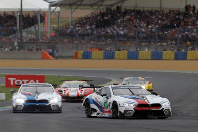 24 Stunden Le Mans, #81 BMW M8 GTE, Martin Tomczyk (GER), Philipp Eng (AUT), Nick Catsburg (NED) and #82 BMW M8 GTE, António Félix da Costa (POR), Alexander Sims (GBR), Augusto Farfus (BRA). © BMW Motorsport