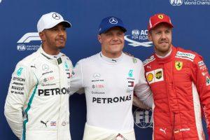 Formel 1 - Mercedes-AMG Petronas Motorsport, GP von Österreich 2018. Lewis Hamilton Valtteri Bottas Sebastian Vettel © Mercedes-AMG Petronas