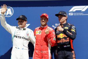 Formel 1 GP von Kanada 2018 Valtteri Bottas Sebatian Vettel Max Verstappen nach dem Qualifying © Mercedes AMG Petronas Motorsport