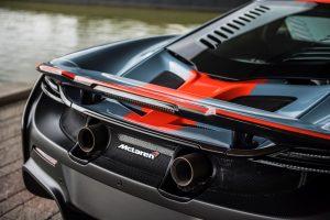 McLaren 675LT mit MSO Gulf Racing Lackierung Heckansicht © McLaren