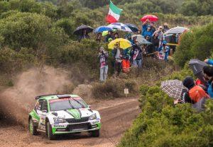 Rallye Italien Skoda WRC2 Die amtierenden Tschechischen Meister Jan Kopecký und Pavel Dresler (CZE/CZE) belegen im SKODA FABIA R5 Rang zwei in der WRC 2-Zwischenwertung nach dem zweiten Tag der Rallye Italien Sardinien © Skoda Motorsport
