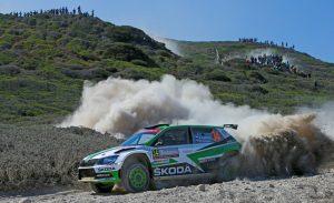 Skoda Fabia R5 Rallye Italien Sardinien- SKODA bei der Rallye Italien Sardinien 2018: Die amtierenden Tschechischen Meister Jan Kopecký und Pavel Dresler (CZE/CZE) wollen im SKODA FABIA R5 ihren Vorjahressieg in der WRC 2-Kategorie wiederholen © Skoda Motorsport