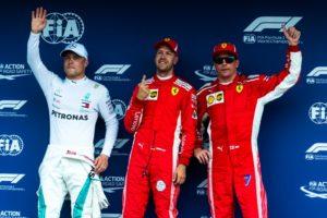 Formel 1 GP Deutschland 2018 Qualifying Valtteri Bottas Sebastian Vettel Kimi Raikkoenen (v.l.n.r.) © Scuderia Ferrari
