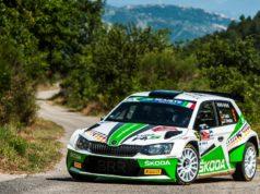 Nach einer ganz starken Leistung liegen Fabian Kreim und Frank Christian (D/D) nach dem zweiten Tag der Rally di Roma Capitale an der Spitze der U28-Wertung © Skoda Motorsport