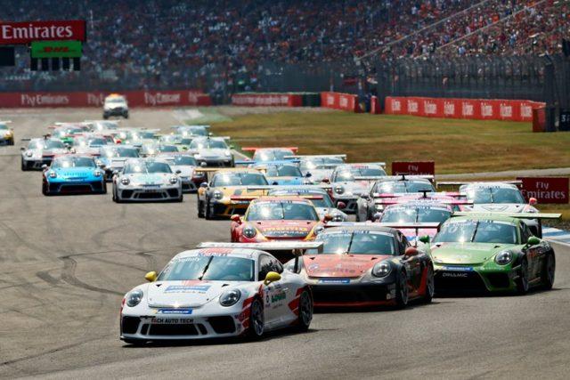 Porsche 911 GT3 Cup, Nick Yelloly (GB), Mikkel Overgaard Pedersen (DK), Mattia Drudi (I), Porsche Mobil 1 Supercup, Hockenheim 2018 © Porsche Motorsport
