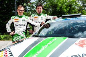 Große Ziele: Die zweimaligen deutschen Meister visieren einen Top-5-Platz beim Event der FIA Rallye-Weltmeisterschaft (WRC 2) in der Heimat an. © Skoda Motorsport
