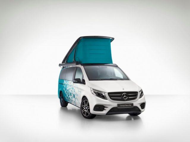 Caravan Salon Düsseldorf 2018: Mercedes-Benz Concept Marco Polo – das voll vernetzte Reisemobil der Zukunft mit Sprachbedienung, Nivellierung, Flüssigkristallfenstern, Solarmodul und einer induktiven Smartphone-Ladestation © Daimler AG