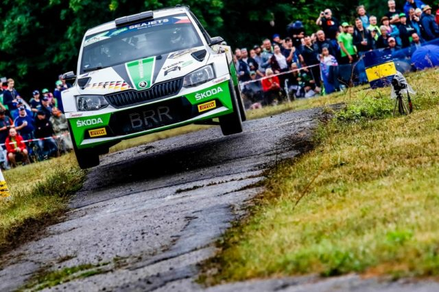 ERC Skoda bei der Rallye Tschechien Das SKODA AUTO Deutschland Duo Fabian Kreim/Frank Christian (D/D) geht mit besten Podestchancen in der U28-Wertung in den Finaltag der Barum Czech Rally Zlin. © Skoda Motorsport