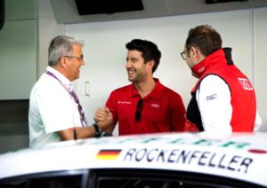 Ernst Moser, Mike Rockenfeller, Laurent Fedacou ©  Audi Communications Motorsport