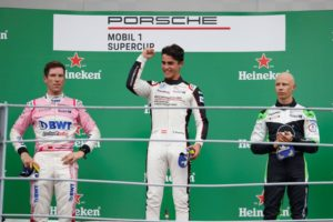 Michael Ammermüller (D), BWT Lechner Racing, Thomas Preining (A), BWT Lechner Racing, Mattia Drudi (I), Dinamic Motorsport, Porsche Mobil 1 Supercup, Monza 2018 © Porsche Motorsport