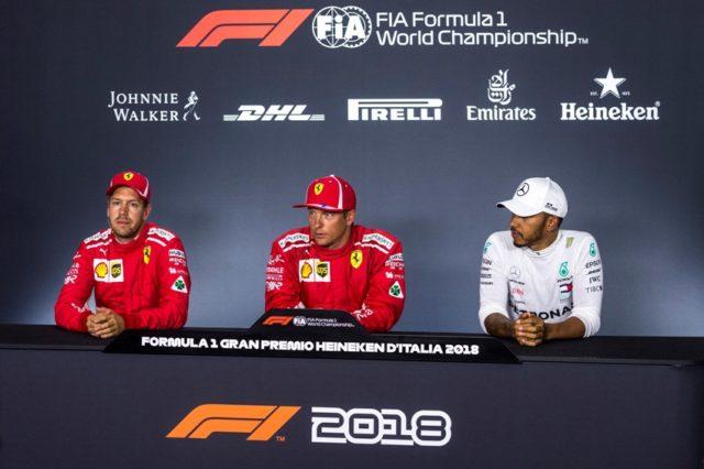 PK nach dem Qualifying zum GP von Italien Sebastian Vettel Kimi Raikkönen Lewis Hamilton (v.l.n.r.) &ciopy; Scuderia Ferrari