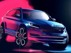 Der neue SKODA KODIAQ RS: Der markante schwarze Kühlergrill, ein sportlicher neuer Stoßfänger und die Full-LED-Scheinwerfer prägen die Frontansicht des neuen High-Performance-SUV. © Skoda