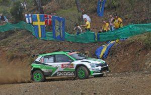 Skoda bei der Rallye Türkei Marmaris 2018 Die amtierenden WRC 2-Champions Pontus Tidemand/Jonas Andersson mussten ihren SKODA FABIA R5 nach Reifenschäden und einer defekten Aufhängung abstellen. © Skoda Motrsport