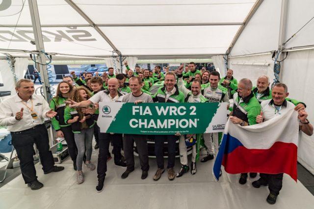 Die neuen WRC 2-Champions Jan Kopecký und Pavel Dresler (SKODA FABIA R5) konnten am Schlusstag der Rallye Spanien Rang zwei verteidigen. © Skoda Motorsport