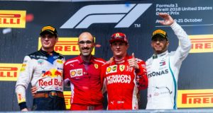 Formel 1 GP der USA 2018 Podium Max Verstappen Kimi Raikkönen Lewis Hamilton © Scuderia Ferrari