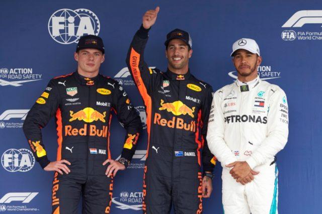 Formel 1 - Mercedes-AMG Petronas Motorsport, Großer Preis von Mexiko 2018. Max Verstappen, Daniel Ricciardo und Lewis Hamilton © Mercedes-AMG Petronas Motorsport