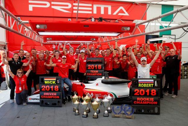FIA Formel 3 EM PREMA Theodore Racing Team with 4 Mick Schumacher (DEU), 8 Marcus Armstrong (ITA), 7 Ralf Aron (EST), 1 Guanyu Zhou (CHN), 10 Robert Shvartzman (RUS) © F3 EM