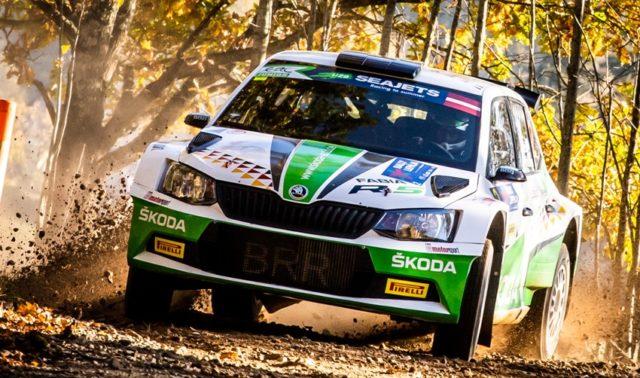 Das SKODA AUTO Deutschland Duo Fabian Kreim/Frank Christian (D/D) liegt bei Halbzeit der Rally Liepaja auf einem starken dritten Platz © Skoda Motorsport